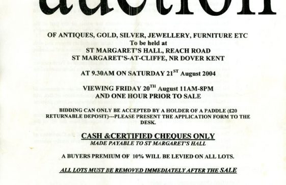 Catalogue of an auction held in Parish Hall on 21st August 2004