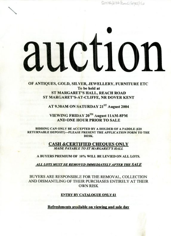 Front cover of Auction Catalogue to be held in Parish Hall on 21st August 2004
