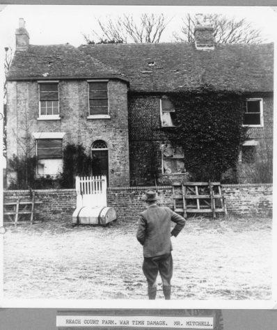 War damage to Reach Court Farm farmhouse. c1942