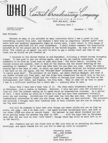 Letter of thanks from WHO Central Broadcasting Company, USA. 1943