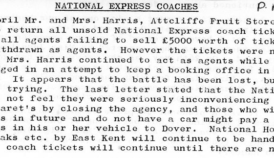 Withdrawal of National Express ticket sales from Attcliffe Fruit Stores July 1984