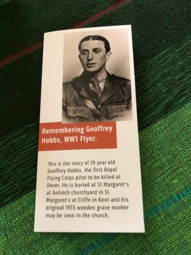 Free leaflet about Geoffrey Hobbs and the project to restore his grave marker