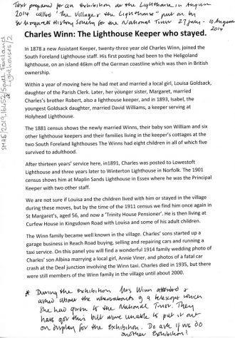 Information sheet on Charles Winn for the Village and Lighthouse Exhibition. 2014