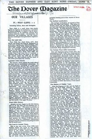 'Our Villages' an article from the Dover Express & East Kent News,1901, covering Westcliffe, Wallett's Court and Solton