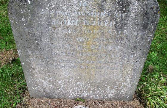 Gravestone of BAKER John 1917; BAKER Emily Elizabeth 1968