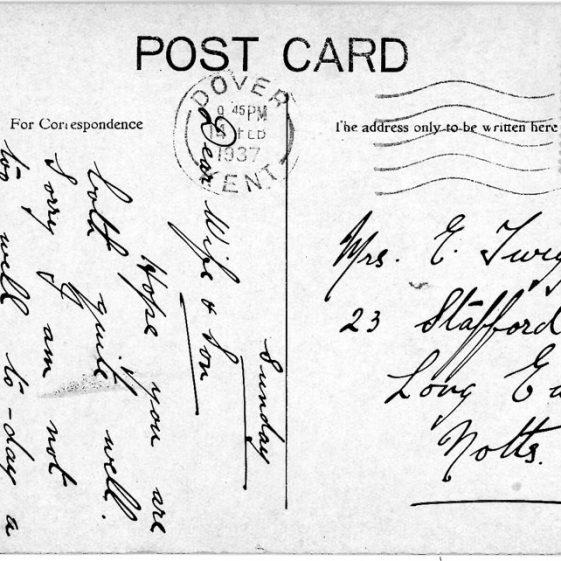 St Margaret's Bay from Ness Point. postmark 1937
