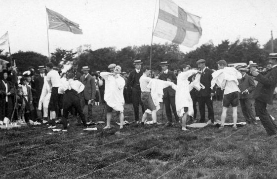 Men's Nightshirt Race at St Margaret's Sports Day. c1910