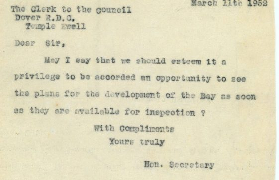 Correspondence between St Margaret's at Cliffe Preservation Society and Dover RDC 1952
