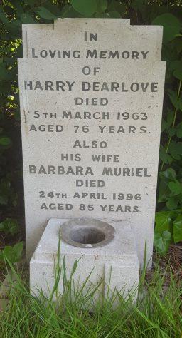 Gravestone of DEARLOVE Harry 1963; DEARLOVE Barbara Muriel 1996