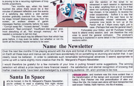 St Margaret's Players Newsletter. March 1997
