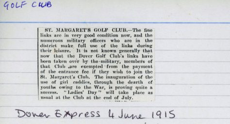 Use of the Golf Club by Military Officers. 4 June 1915