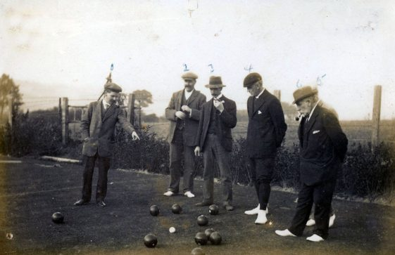 Men's match in progress, St Margaret's Bowls Club, Kingsdown Road. c1910