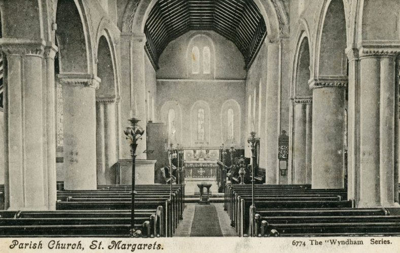 Interior of St Margaret's church facing east. sent to E W Newman postmarked 19 July 1905