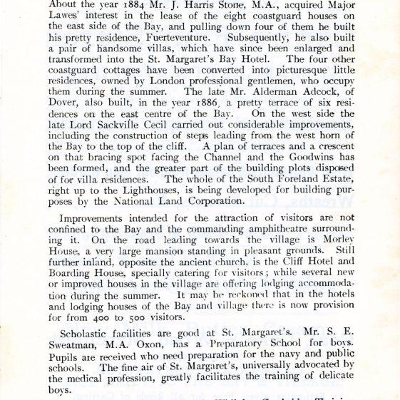 'St Margaret's Visitors Guide' by John Bavington Jones. 1907, pages 1 - 9