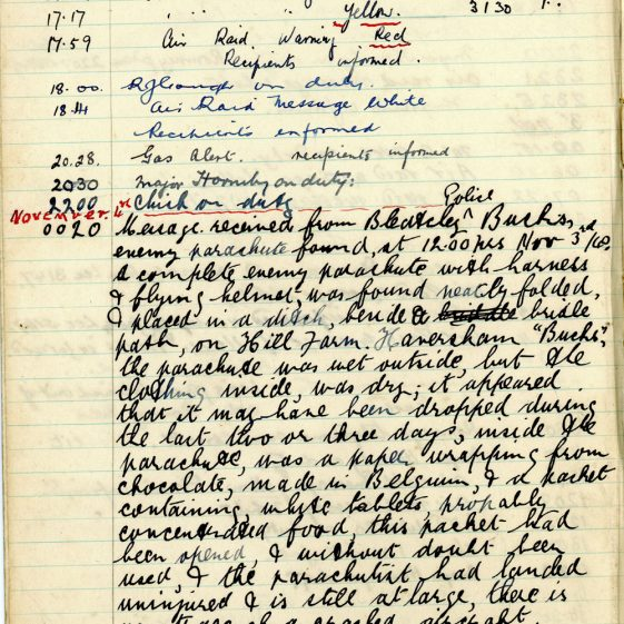 St Margaret's ARP (Air Raid Precautions) Log. Volume 3. 2 November 1940 - 17 February 1941. Pages 1-8