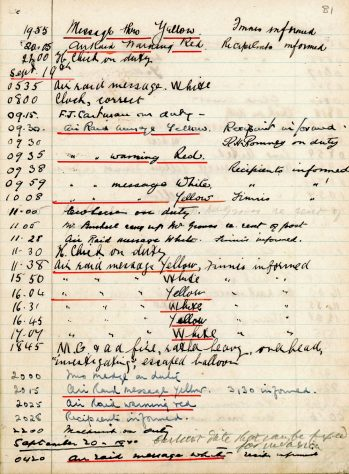 St Margaret's ARP (Air Raid Precautions) Log. Volume 2. 24 July 1940 - 2 November 1940. Pages 81-89