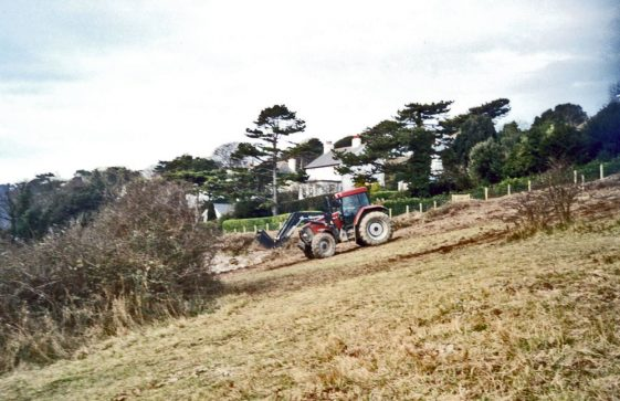 Land clearance on The Leas reveal wartime concrete bases. 1 March 2003