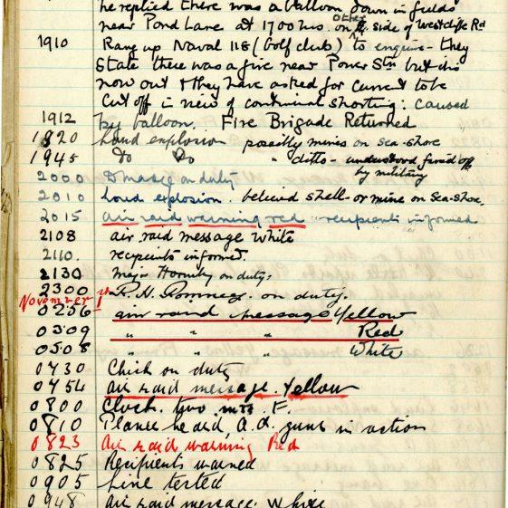 St Margaret's ARP (Air Raid Precautions) Log. Volume 2. 24 July 1940 - 2 November 1940. Pages 133-141