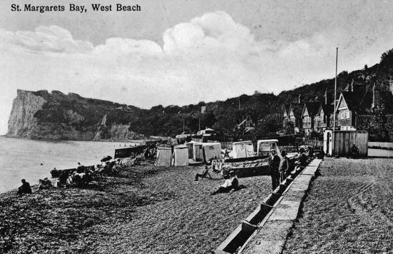 A view looking SW along the beach towards The Ness. Pre WW2