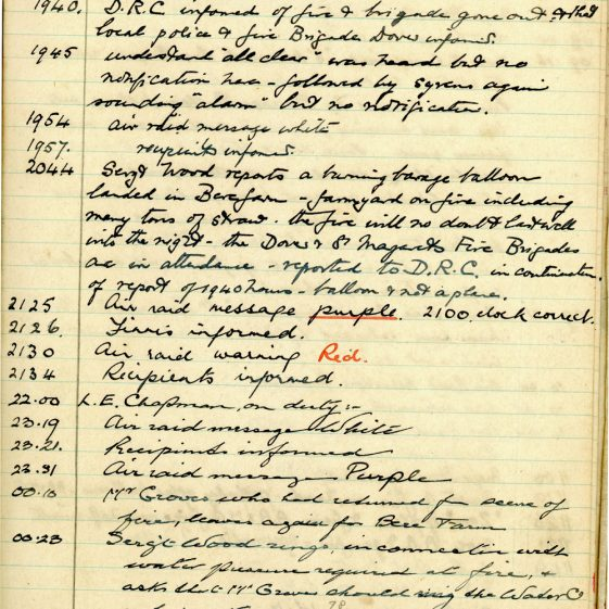 St Margaret's ARP (Air Raid Precautions) Log. Volume 2. 24 July 1940 - 2 November 1940. Pages 47-57