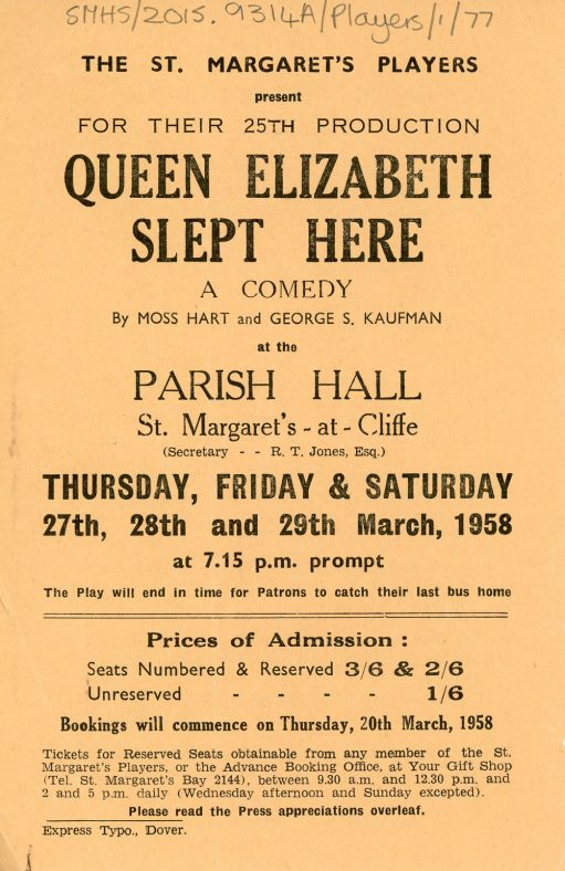 A Flyer for the St. Margaret's Players 1958 production of 'Queen Elizabeth Slept Here'