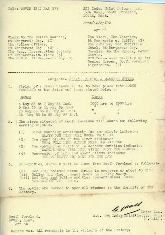 Letter warning residents of heavy gun fire testing at the South Foreland Battery. April 1955