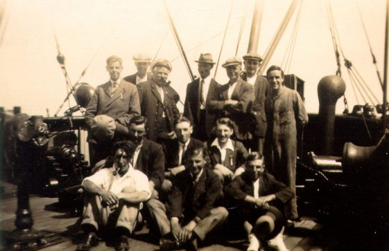A group photograph taken on board ship with St Margaret's boys, identified by Mildred Newman