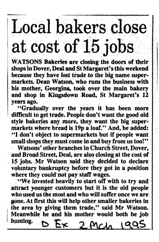 Closure of Watson's Bakery shop, Kingsdown Road. 1995
