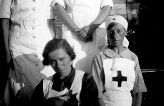 Annie Sharpe and a friend in Red Cross uniform