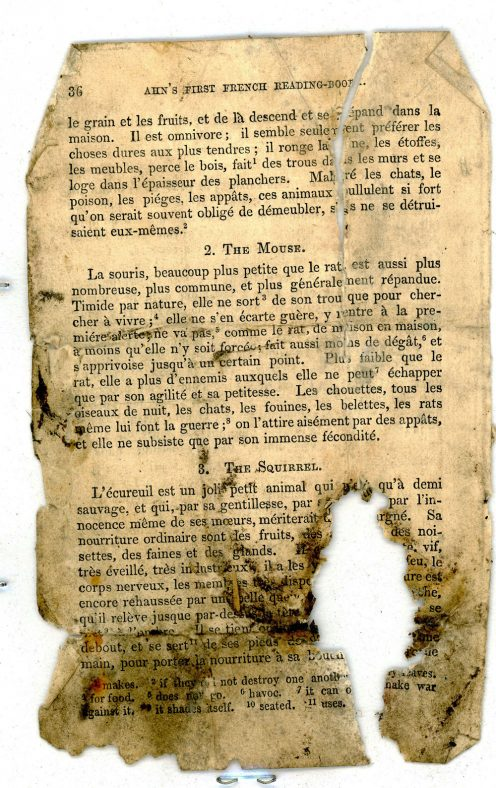 Pages 35 and 36 of AHN's First French Reading Book found in a dormitory wall of the old Cliffe House School
