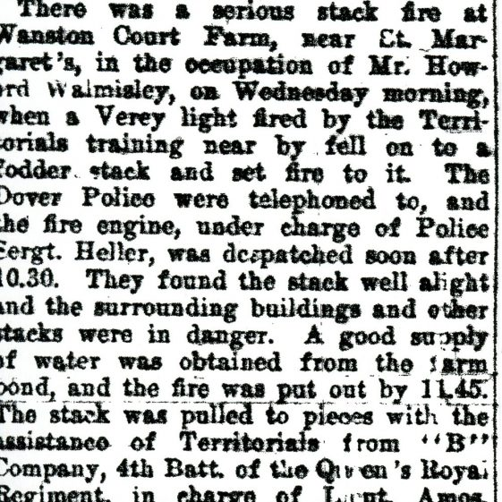 Surrey Territorial Brigade at Swingate Downs Camp; Fire at Wanstone Farm. 29th July 1927