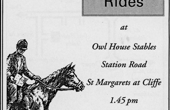 Leaflet produced by Owl House Stables to launch 'Freedown Rides'. 1997