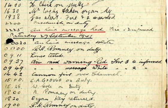 St Margaret's ARP (Air Raid Precautions) Log. Volume 5. 25 September 1941 - 17 July 1942. Pages 1- 9
