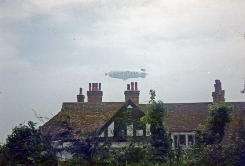 Goodyear Airship over Corner Cottage Granville Road. 25th July 1985