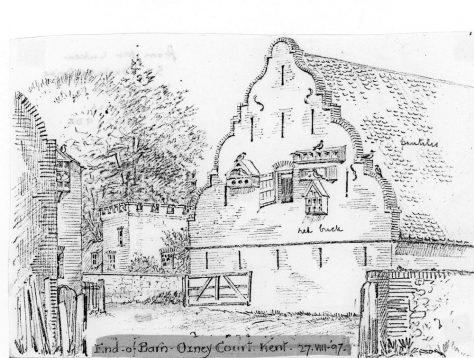 Dutch barn at Oxney Court. 27 August 1997