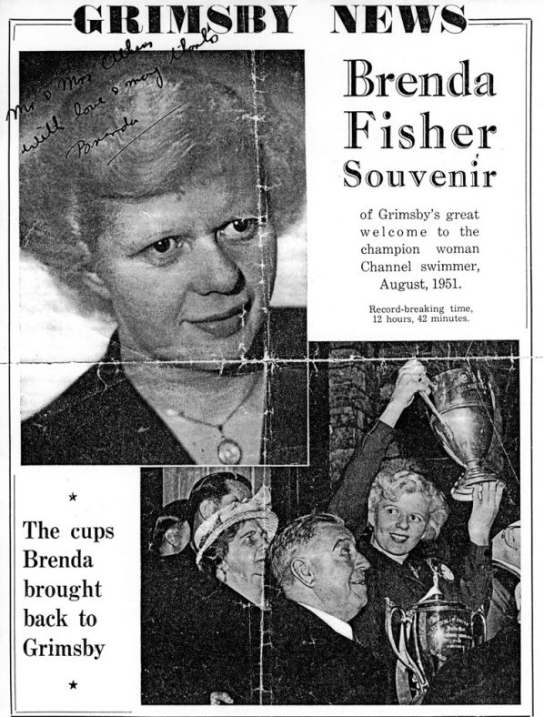 Souvenir edition of The Grimsby News signed by cross channel swimmer Brenda Fisher. 1951