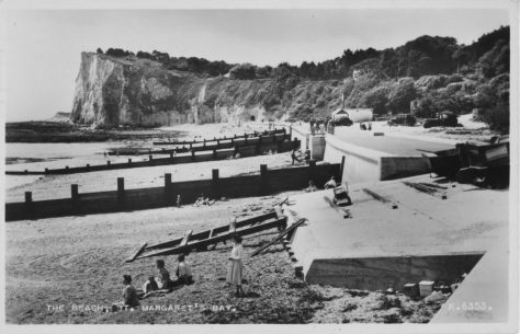 The promenade, sea wall and groynes, St Margaret's Bay. postmark 1956