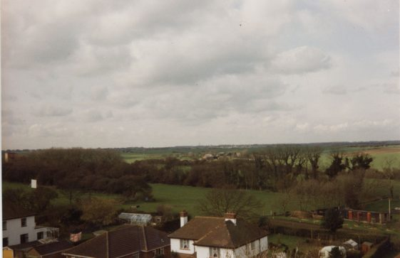 From St Margaret's church tower looking south-west over Well Lane. 11 March 1989