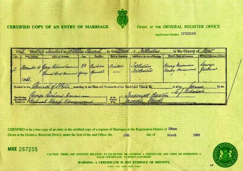 Marriage Certificate of Hannah Kemp Hammond and George Richard Newman.  31 December 1868