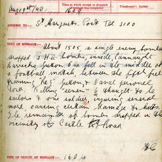 St Margaret's ARP (Air Raid Precautions) Log. Volume 2. 24 July 1940 - 2 November 1940. Pages 27-35