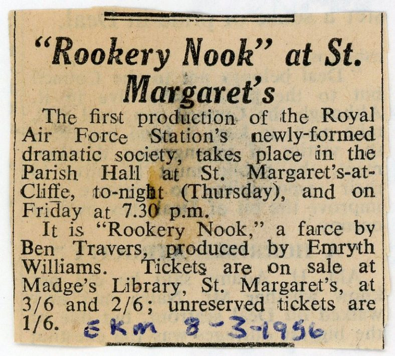 Press cutting annnouncing the first production of the RAF Dramatic Society in the Village Hall 1956.