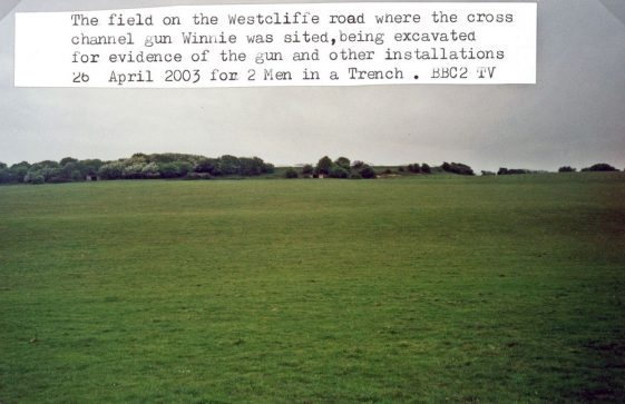 Excavation of the WW2 Winnie gun site for BBC 's 'Two Men in a Trench'.  26 April 2003
