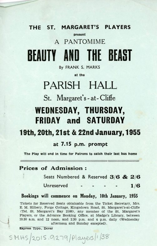 Flyer for St Margaret's Players pantomime 'Beauty and the Beast' 1955