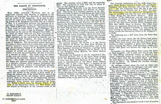 The History of Westcliffe parish