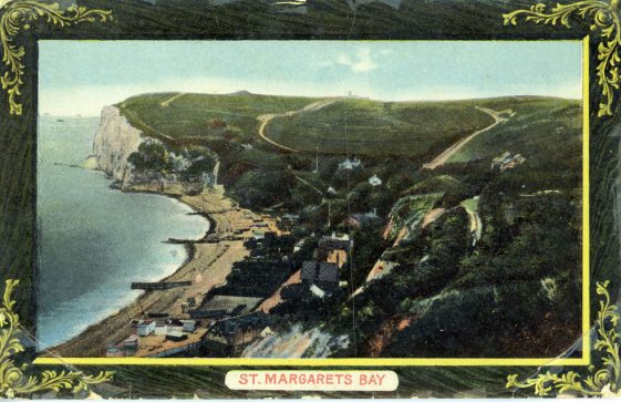 A framed postcard view looking across the Bay from The Leas towards the valley. c1916
