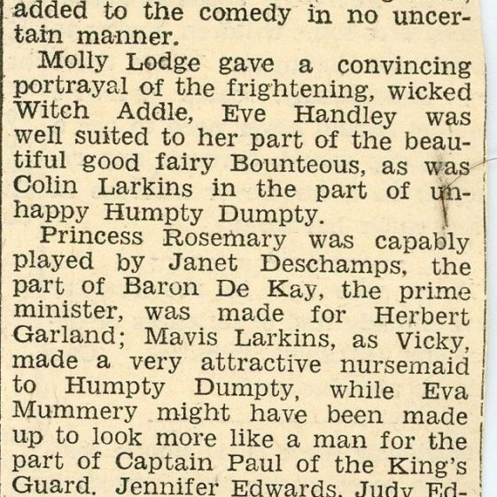 Press review of St Margaret's Players pantomime 'Humpty Dumpty' 1958