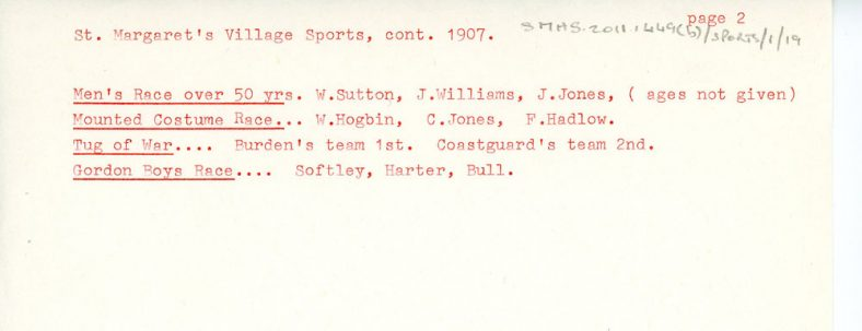 Details of 12th St Margaret's Sports Day. 1907