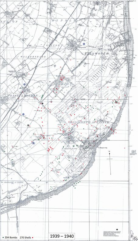 Bomb and shell sites in St Margaret's. 1939-40