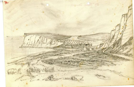 Drawing of The Undercliff Road from Kingsdown to The Bay by John Jewell
