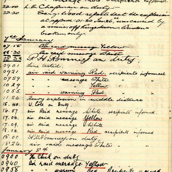 St Margaret's ARP (Air Raid Precautions) Log. Volume 3. 2 November 1940 - 17 February 1941. Pages 100-109